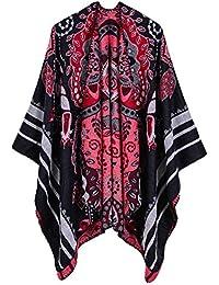 Cape Poncho Ample Femme Tricot Cachemire d imitation Douce Tartan Rétro  Imprimée Foulard Chaud Ouverture Large Châle Longue Hiver Automne… 6d8ce378050