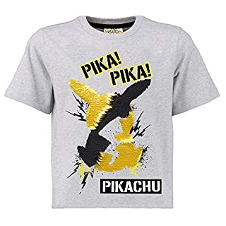 Pokémon Two Way Sequin Boys T-Shirt | Cotton Grey Top with Reverse Sequin Pikachu Motif in Black and Gold | UK Clothing Size Age 4 to 16 | Gift Idea for Children & Teenagers (4-5 Years)