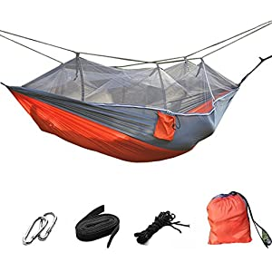 suyi portable folding double parachute camping hammock mosquito net tree hammocks tent travel bed,premium quality lightweight & durable 210t nylon fabric,capacity up to 441 lbs,with strong tree straps,hooks,storage bag,perfect for outdoor camping,hiking,indoor backyard