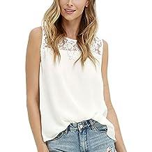 Minetom Mujer Camisas Sin Mangas De La Camiseta Chaleco Top Moda T Shirt Encaje Hombro Tirantes