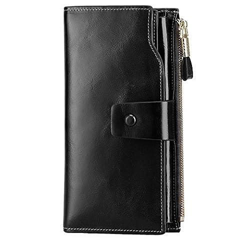 S-ZONE Damen groß Kapazität Luxus echtes Leder Geldbörsen mit Reißverschluss-Tasche (Schwarz)
