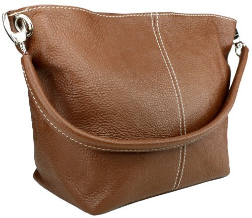 DELARA Piccola borsa shopper in pelle, Made in Italy. Color cachi marrone