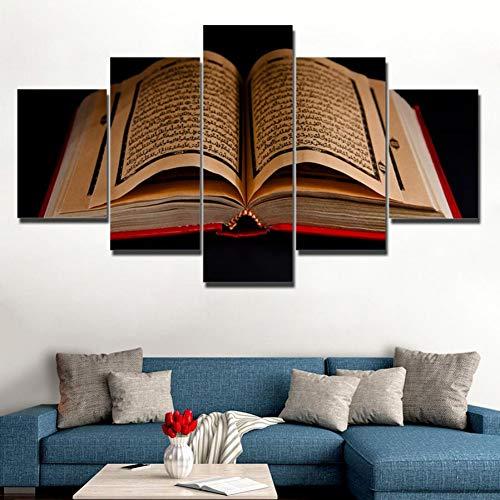 XSHUHANP Kunstdrucke Auf Leinwand Bilder Wandkunst Rahmen 5 Stücke Koran Islamischen Schriften Gemälde Hd Drucke Holybook Quran Poster Wohnzimmer Dekor