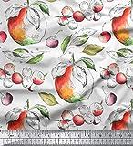 Soimoi Weiß Viskose Chiffon Stoff Apfel & Beeren Obst