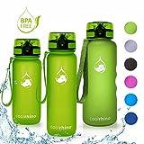 coolrhino Trinkflasche 650ml / 1l für Sport, Outdoor, Schule, Fitness & Kinder - Wasserflasche auslaufsicher und Bpa frei - Flasche für Kohlensäure geeignet (Rhino Yellow, 650ml)