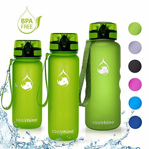 coolrhino Trinkflasche 1l für Sport, Outdoor, Schule, Fitness & Kinder - Wasserflasche auslaufsicher und Bpa frei - Flasche für Kohlensäure geeignet (Rhino Yellow, 1000ml) -