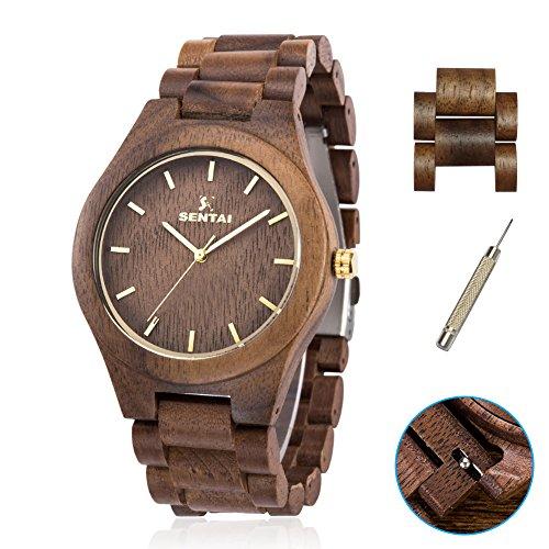 Herren holz armbanduhr + 2 Uhr Links, Natürliche solide Walnuss Holz Armbanduhr Fall und Armband mit Japan Analoganzeige Bewegung und Justierung Werkzeug (Walnussholz)