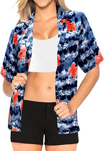La Leela Dress Womens Luau Party Beach Day Hawaiian Coverup Button Down Short Sleeves M