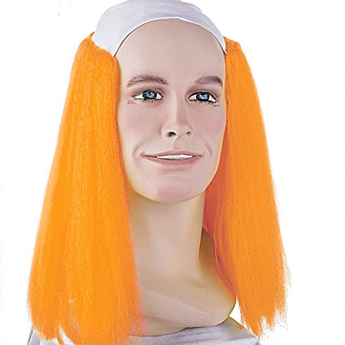 Sepia Costume Long Bald Clown Synthetic Wig - Orange