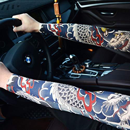 männliche Blume Tattoo Ärmel Tattoo Armmanschette männliche Frau nahtlose Icy Eis Seide Sonnenschutz Armmanschette Sommer CXQ Auto fahren, [4] ein Paar Kleid