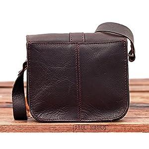 PAUL MARIUS L'ESSENTIEL tamaño pequeño, estilo vintage, pequeño bolso bandolera de cuero color marrón oscuro Vintage…