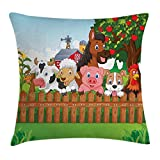 Cartoon Throw Pillow Cushion Cover, Composition Cute Farm Animals on Fence Comic Mascots with Dog Cow Horse Kids Design, Decorative Square Accent Pillow Case,Multicolor 20x20inch