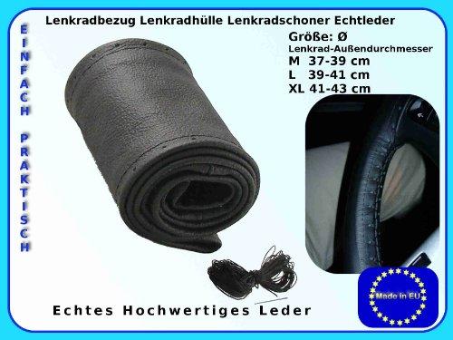Lenkradbezug Lenkradhülle Lenkradschoner echt LEDER (L 39 - 40 CM Ø)