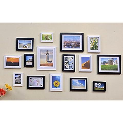 GYN Continentale classica Handmade Creative parete Decor Foto Frame Set immagini legno Foto Frame Casa monofamiliare muro decorazione 15 caselle , C