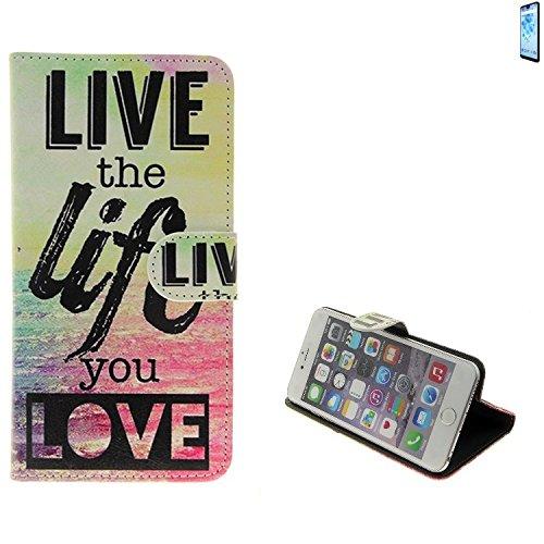 Für Wiko View 2 PRO 360° Wallet Case Schutz Hülle ''live the life you love'' Schutzhülle Handy Hülle Handyhülle Handy Tasche Etui Smartphone Flip cover Flipstyle für Wiko View 2 PRO - K-S-Trade (TM)