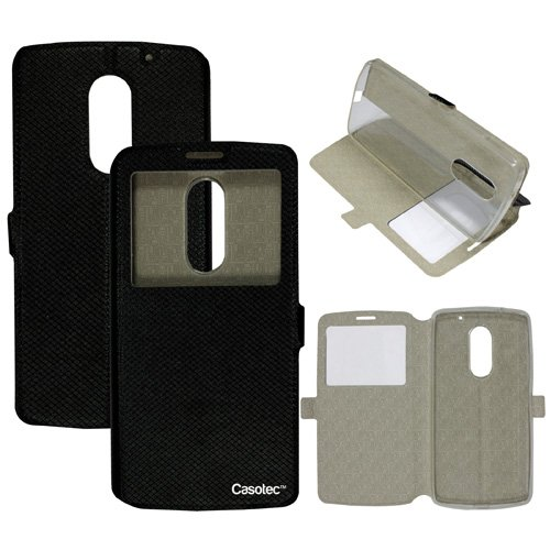 Casotec Premium Kickstand Caller-id Flip Case Cover with Snap Button Closure for Lenovo Vibe X3 - Black