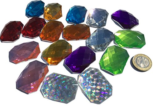 18 Pieces 40 mm x 30 mm Glitter Mosaic Colourful Acrylic Jewels Mixed Colours Ornament Rhinestone Cover Diamante Square Acrylic Stone Opal Effect Rainbow Effect Laser Style Rainbow Bead Clear Crystal Craft Gems Gltzer Earr for Decorating King