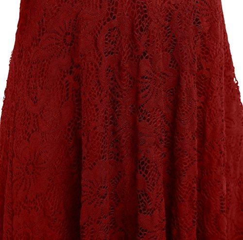 YiLianDa Robes Cocktail Dentelle Swing Robe Vintage Robe Col V Robe De Soirée Femme Vin Rouge