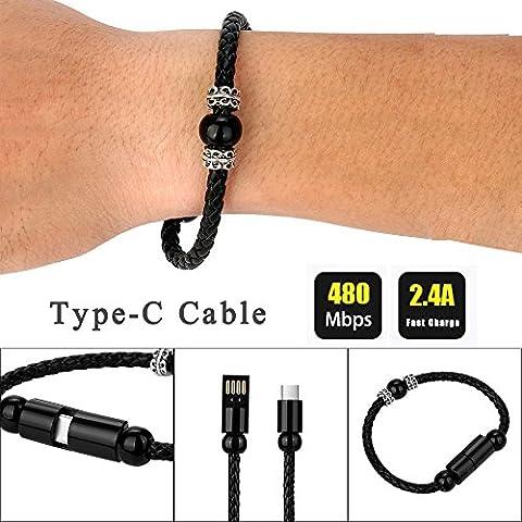 Câble Micro USB Chargeur,Câble chargeur USB multiple, Lignes de données,NPRADLA New Weave Creative 8Pin Type-C Câble de données Bracelet à perles Chargeur pour téléphone intelligent (noir)