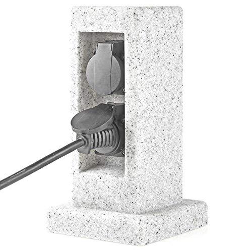 TronicXL Premium IP44 Garten Stein Design Steckdosenleiste 2-fach Verteiler steckdose 2er 2fach Outdoor Außenbereich Steinoptik Steckerleiste Säule Steckdosensäule gartensteckdosenleiste