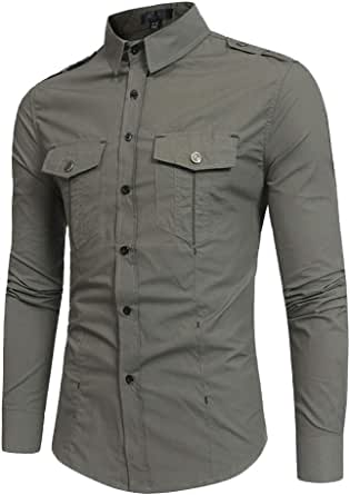 AnyuA Mens Shirt Long Sleeves Top Camping Travelling Pockets Button Down Blouse