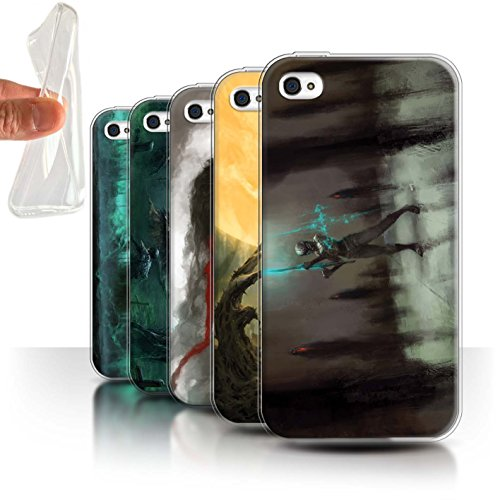 Offiziell Chris Cold Hülle / Gel TPU Case für Apple iPhone 4/4S / Rotes Band-Engel Muster / Unterwelt Kollektion Pack 5pcs