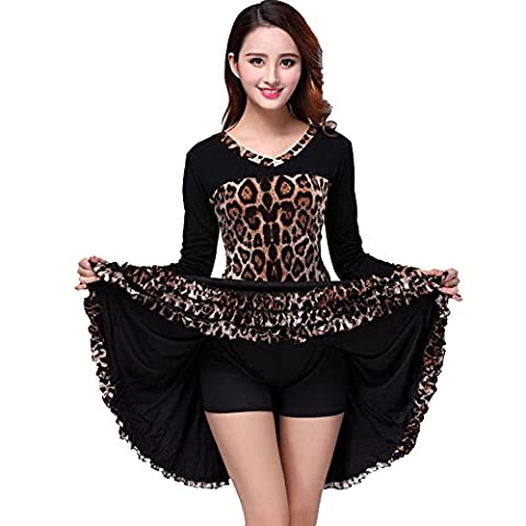 Costumes Ballroom Dancer Halloween - Wgwioo Leopard Women Robe De Danse Latine