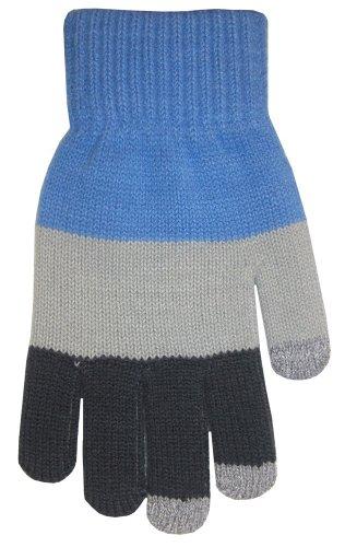 BOSS Tech Produkte Knit Touchscreen Handschuhe mit leitfähigen Fingerspitzen Blau/Grau -
