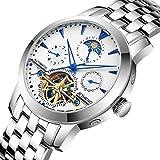 Automatische mechanische Uhren/Fashion Durchbrochenen Stahl Armbanduhr/Tourbillon Uhr wasserdicht-E