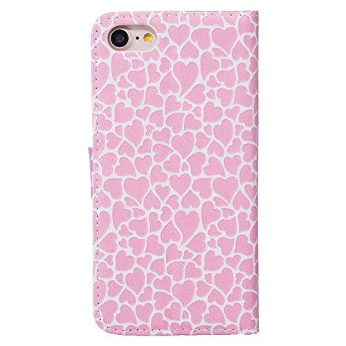 """MOONCASE iPhone 7 Coque, [Dandelion Lover] Modèle Housse Pochette en Cuir Etui à rabat portefeuille [Porte-cartes] TPU Case avec Béquille pour Apple iPhone 7 4.7"""" Rosa Heart"""