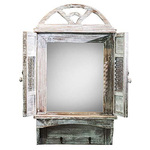 Z-jingzi Amerikanische Kunst Dekor rustikale Bogen Fenster Design Spiegel Wand Eitelkeit Akzent Bauernhaus Spiegel mit Regal und Haken (28,1
