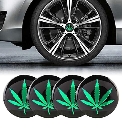 AutAutomotive Universalzubehör, 4 Stück Auto-Styling Green Leaves Muster Metall Radnaben dekorative Aufkleber, Durchmesser: 5,8 cm, Geeignet für alle Arten von Fahrzeugen