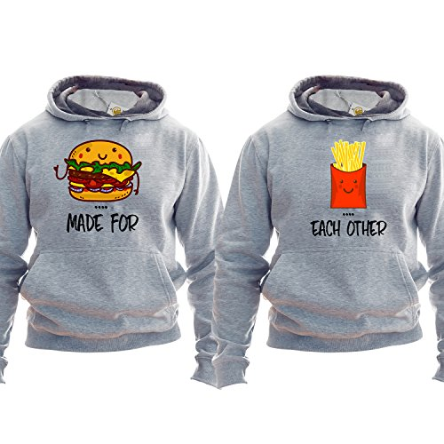 *Best Friends Pullover Made For Each Other Burger And Fries Hoodie Kapuzenpullover Kapuzenshirt For Couple Unisex*