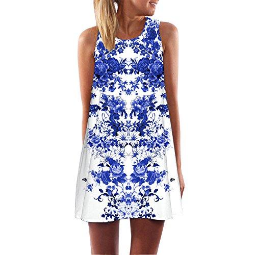 Toamen da donna abito boho sciolto estate stampa floreale 3d vintage senza maniche tank short mini vestito a-line vestito estivo (bianca5,s)