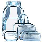 Yvonnelee Rucksack PVC Transparent Taschen Durchsichtig Schulrucksack Clear Bookbag Reise Backpack Gepäck Beutel Outdoor Organizer Fit 15 Zoll Laptop
