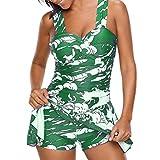 SEWORLD Damen Sommer Mode Frauen Tankini Sets mit Jungen Shorts Damen Bikini Set Bademode Hochdrücken Gepolsterter BH(Hellgrün,EU-48/CN-3XL)