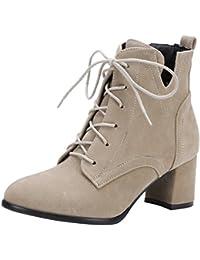 UH Damen Blockabsatz Stiefeletten Schnürung Ankle Boots mit Fell Warm 6cm  Absatz Fashion Schuhe 9967a3ea36