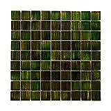 Mosaikfliesen Glas 28,8 x 28,8cm 1 QM/11 Stück I Vezzo Ceramica I Serie 20679, Grün