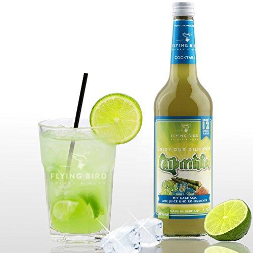 Caipirinha 30% Vol. - PreMix für 12 alkoholische Cocktails – Flasche 0,7 l mit allen Zutaten - Auf crushed Ice servieren, fertig
