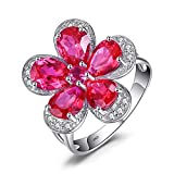Jewelrypalace 4.3ct Rot Blume Stil Pear Runde Schnitt Synthetisch Rubin Ring 925 Sterling Silber