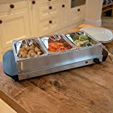 200W STAINLESS STEEL 3 X 1.5L PAN LARGE CATERING FOOD WARMER HOT PLATE