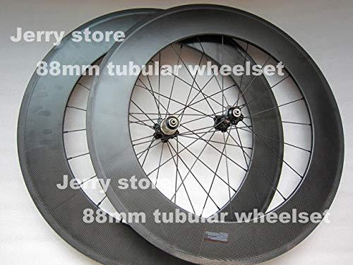 FidgetGear 88 mm Tiefe Kohlefaser Fahrrad Laufradsatz 700C Road Tubular Wheels -