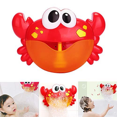 Jujuism Badewannenspielzeug Bubble Krabbe Badewanne Blase Maschine Wasserspielzeug Blasen Automatisch-Sprühen mit 12 Musik Lied für Kinder Geschenk -