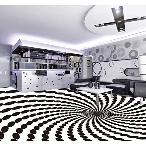 Moderne Tapeten 3D Geometrische Schwarz Weiß Kunst Fototapete Wohnkultur Boden Malerei Aufkleber Wasserdichte PVC Vinyl Bodenbelag, 430 * 300