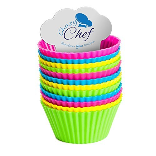 Reusable Silicone NonStick Baking Cups- Assorted Colors Cupcake Holder Set- 24 Pieces by Chuzy Chef® by Chuzy Chef (Cup Baking Set)