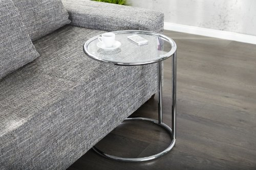 DuNord Design Beistelltisch Couchtisch rund Glas und Chrom Plate Art Deco