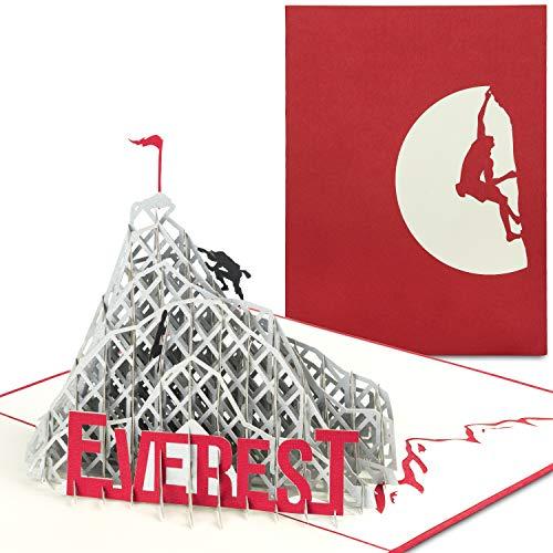 PaperCrush® Pop-Up Karte Klettern - Mount Everest 3D Geburtstagskarte, Geschenkidee für Bergsteiger, Abenteuer Urlaub - Bouldern Gutscheinkarte inkl. Umschlag