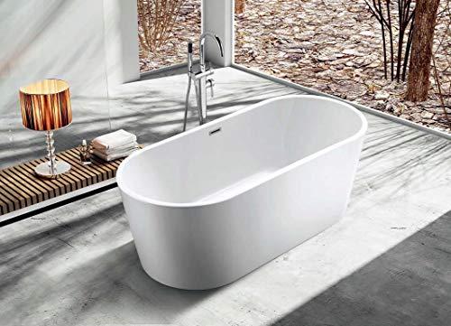 Freistehende Badewanne Acryl Wanne 160x75x60 cm weiß Standbadewanne