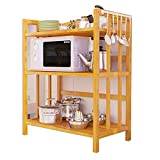 NAN Liang 3 Schichten - Küche Lagerregal Ecke Tablett Rack Mikrowelle Geschirr Kochgeschirr Lagerung Finishing Multifunktions-Rack, Bambus, 4 Größen zur Verfügung Nicht rosten (größe : 50cm)