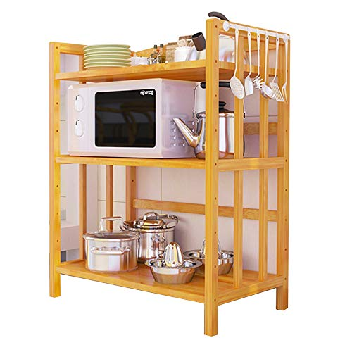 Kitchen storage rack NAN liang 3 layers corner tray rack microwave tableware cookware storage finishing multi-function rack, bamboo, 4 Does not rust (Size : 80 cm)